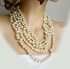 Check out Chunky Statement Pearl Necklace, Wedding Necklace, Bridal Necklace, Multi Strand Pearl Necklace, Bridal Jewelry Bib on sukrankirtisjewelry