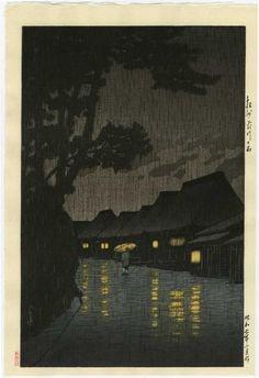 HASUI - Japanese Woodblock Print NIGHT RAIN