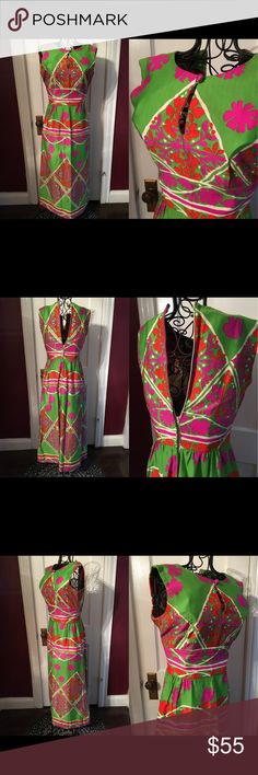 VINTAGE 1960's Tori Richards maxi dress Beautiful condition vintage dress by Tori Richards from the 1960's. Great condition for being 45+ years old. Zips up back (just didn't fit my model). Button closure in front with peekaboo slit on chest. Vibrant colors, no old or bad smell. Not a modern size 9. Tiny waist area probably fits more of a 2 or 0 size. Vintage Dresses Maxi