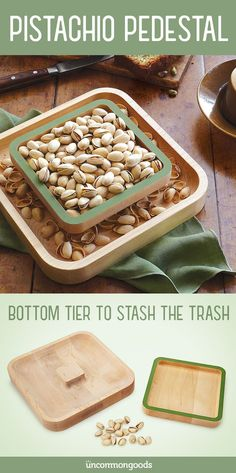This solid wood pistachio server is designed to offer an elegant solution for storing discarded shells. Makes a great snack table addition or gift!