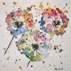 Pusteblumen Dandelions frisch und bunt Aquarell