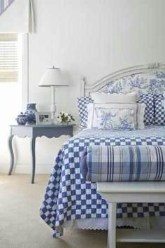 Cozy Classic Cottage Bedroom In Crisp White And Layered Blue Textures