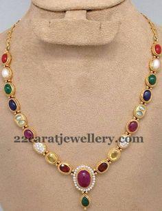 Single Layer Navaratan Necklace