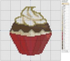 kawaii 02 patron punto cruz by YuikoHeartless on DeviantArt Cupcake Cross Stitch, Tiny Cross Stitch, Free Cross Stitch Charts, Cross Stitch Freebies, Butterfly Cross Stitch, Cross Stitch Kitchen, Cross Stitch Designs, Cross Stitch Patterns, Cross Stitching