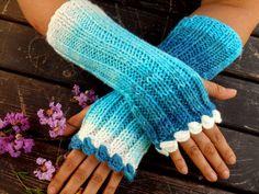 Fingerless GlovesKnitted GlovesTurquoiseCrochet by YASEMINYASEMIN