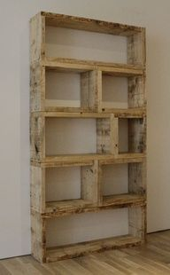 bookshelf made of pallets // Very nice. I would stain mine a coffee color
