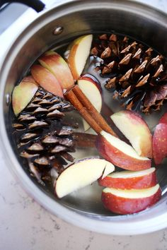 I would have never thought to use pine cones in a simmer pot, but apparently you can! Add in apples & cinnamon & your house will smell amazing for the holidays!