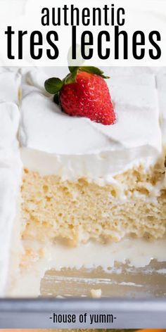 Tres leches cake This easy to make tender cake is drenched in a three milk mixture topped with fluffy whipped cream and can be topped with a sprinkle of cinnamon or fresh fruit for a truly authentic Mexican dessert cakerecipes tresleches Authentic Mexican Desserts, Mexican Dessert Recipes, Traditional Mexican Desserts, Great Desserts, Party Desserts, Delicious Desserts, Easter Desserts, Desserts To Make, Gâteau Tres Leches