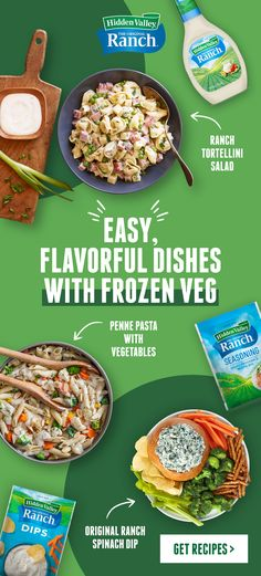 There are hundreds more recipes where these crowd-pleasers come from. Frozen Vegetable Recipes, Frozen Vegetables, Recipe Ideas, Great Recipes, Pasta Recipes, Pasta Meals, Ranch Recipe, Valley Ranch, Proper Nutrition
