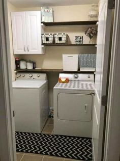 35 Amazingly Inspiring small laundry room design ideas For Small Spaces - Laundry Closet Makeover, Laundry Room Organization, Laundry Room Design, Basement Laundry, Small Laundry Rooms, Laundry Storage, Basement Storage, Laundry Tips, Room Arrangement Ideas
