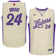 2015 Men's Los Angeles Lakers Kobe Bryant adidas Cream Christmas Day Swingman Jersey #MambasGreetings!
