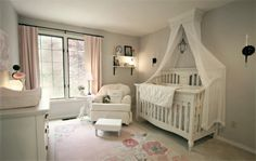White crib canopy bed crown and crib canopy inspiration. Claire's Nursery by Ivy. Via Project Nursery.
