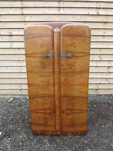 vintage 30s art deco walnut wardrobe hanging rail and shelves lockable with key ebay art deco figured walnut wardrobe vintage
