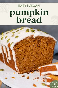 Get ready to make the best vegan pumpkin bread recipe! It's fluffy, moist, and perfectly spiced, plus it requires simple ingredients and is easy to make! It's classic fall treat that the whole family will love. #vegan pumpkinbread #pumpkinbread#creamcheeseicing #dessert #breakfast #sweet #pumpkin #fall #autumn #pumpkinspice #vegan