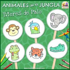 These FREE jungle animals printable stick puppets are really simple for little ones to make. Use them to teach vocabulary, act out simple dialogues or plays, or as an easy arts and crafts activity! Puppets For Kids, Hand Puppets, Puppet Crafts, Craft Stick Crafts, Easy Arts And Crafts, Crafts For Kids, Craft Activities, Preschool Crafts, Preschool Jungle