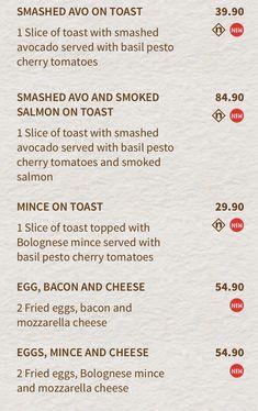 Smashed Avocado, Basil Pesto, Smoked Salmon, Cherry Tomatoes, Menu, Creative, Menu Board Design