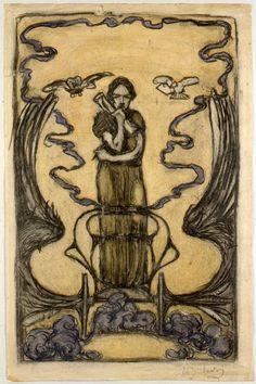 Clio. Carboncillo, creta y acuarela. Alrededor de 1900. 44,6 x 29,4 cm. Artista: Ernst Barlach.