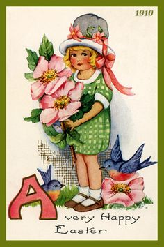 Olde America Antiques | Quilt Blocks | National Parks | Bozeman Montana : Easter - Child with Flower 4