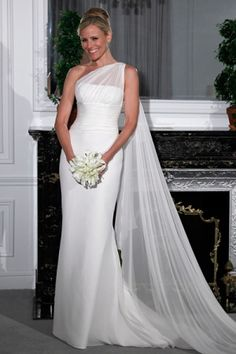 Isn't this one shoulder wedding dress gorgeous! Isn't this one shoulder wedding dress gorgeous! My wedding renewal dress could be this Wedding Dress Chiffon, Bridal Wedding Dresses, Cheap Wedding Dress, Wedding Attire, Bridal Style, Bridesmaid Dresses, Silk Chiffon, Bridal Collection, Dress Collection
