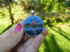 Landscape necklace Sunset Autumn  by EmbroideredJewerly on Etsy
