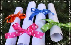Certificate of Generosity wrapped in brightly coloured ribbon of your choice.  www.thedummyfairyworkshop.com