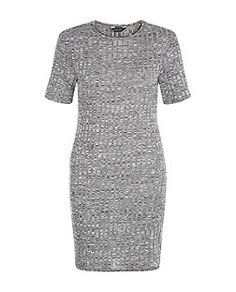Grey Ribbed Bodycon Mini  | New Look