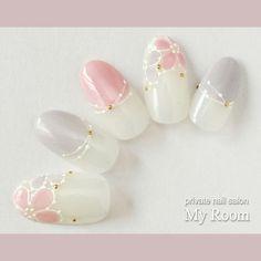 ネイル(No.2102747) フラワー  デート  女子会  グレー  春  ピンク  レース  ジェルネイル  ミディアム  ハンド  チップ   かわいいネイルのデザインを探すならネイルブック!流行のデザインが丸わかり!