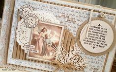 min lille scrappe-verden: Julekort i blått (DT for Kort & Godt) I Card, Christmas Cards, Shabby, Greeting Cards, Scrapbooking, Frame, Vintage, Decor, Lily