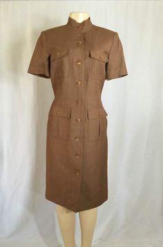 Donna Morgan Brown Linen Blend Short Sleeve Career Dress Size 6 #DonnaMorgan #Sheath #WeartoWork