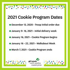 Mark your calendars, the 2021 Girl Scout Cookie Program is coming soon! We can't wait to see what our girls accomplish this year. ​