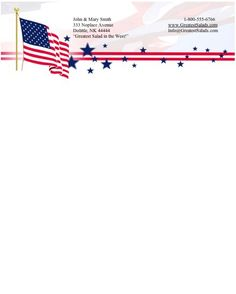 Patriotic stationery with an American flag plus stars and stripes along the top. Free to download and print