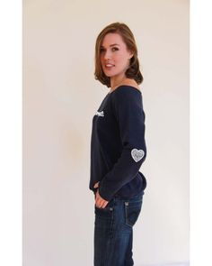 Awesome Hearts, navy off-the-shoulder sweatshirt Loose Goose Canada