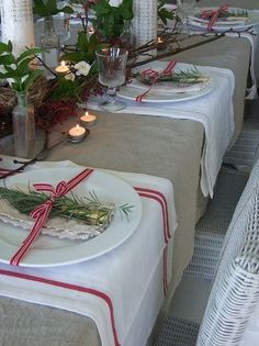 rosemary on plates- tablescape... this reminds me of a Croatian wedding table setting