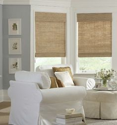 What I want for the living room! Natural woven shades create a relaxed and tranquil living space. Textured, casual, organic, and hand-woven just for you. Woven Wood Shades, Bamboo Shades, Fabric Shades, Style At Home, Living Room Decor, Living Spaces, Dining Room, Shades Blinds, Shades Window