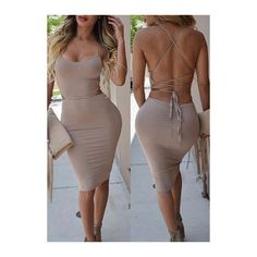Open Back Scoop Neck Apricot Bodycon Dress ($23) ❤ liked on Polyvore featuring dresses, outfits, apricot, body con dress, brown bodycon dress, sexy bodycon dresses, sleeveless bodycon dress and spaghetti strap bodycon dress