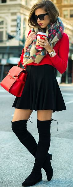 Plaid Scarf On Red Sweater On Black Skirt And Overknees Fall Vacation Style Inspo by For The Love Of Fancy