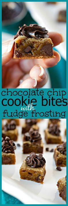 Chocolate Chip Cookies Bites with Fudge Frosting- Bite-sized pieces of chocolate chip cookies topped with fudge icing. It's fun, new way to serve cookies for your parties! And it's a great alternative to cookie cake. Mini Desserts, Party Desserts, Chocolate Desserts, Just Desserts, Chocolate Chip Cookies, Delicious Desserts, Yummy Food, Chocolate Cookies, Chocolate Frosting