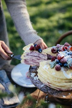 Gluten-free Crêpe Cake with Cream Cheese and Raspberry Jam - Our Food Stories