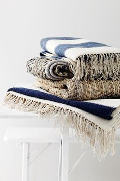 striped throws - these colors for our room remodel