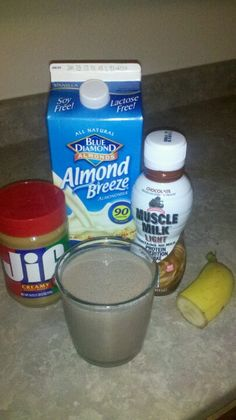 1/2 cup almond milk, 7oz chocolate muscle milk, 1/2 banana, 1 table spoon of peanut butter. Blend and drink. Yummy post workout shake.