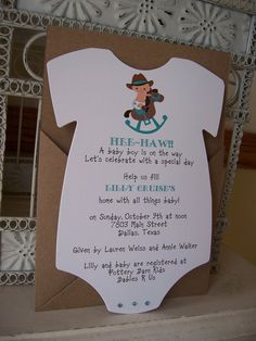Cowboy Baby Shower InvitationCustom Die Cut by BeautifullyInviting