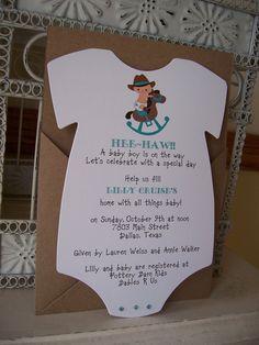 Cowboy Baby Shower InvitationCustom Die Cut by BeautifullyInviting
