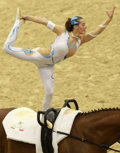 Horse/equestrian vaulting- I remember when I first learned this one:))