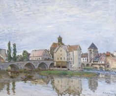 Moret on Long Time Gray by Alfred Sisley Size: 60x73 cm Medium: oil on canvas