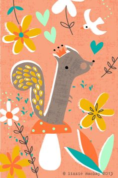 fall squirell with a crown and rosy cheeks, illustration by Lizzie Mackay