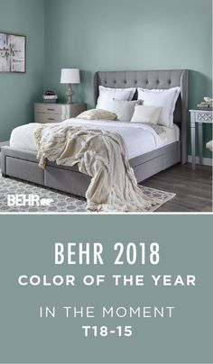 "BEHR 2018 Color of the Year. ""In The Moment"" This soothing blue-green shade helps create a relaxing environment in this master bedroom. Pair with neutral gray and white to complement this look. Order a sample size today to test on your project. Relaxing Bedroom Colors, Relaxing Master Bedroom, Master Bedrooms, Green Master Bedroom, Master Bath, Gray Bedroom, Trendy Bedroom, Calm Colors For Bedroom, Best Bedroom Paint Colors"
