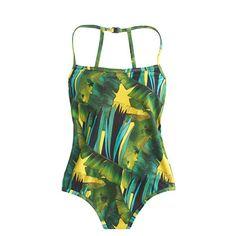 Jungle print racerback one-piece swimsuit