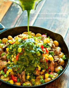 Steak & Potato Chimichurri With Fresh Vegetables | 39 Delicious Things You Can Make In A Skillet