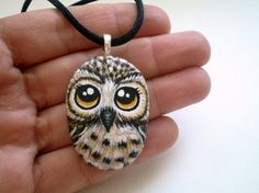 Owl Necklace Hand Painted Stone Pendant Original by ShebboDesign