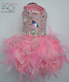 ༻❁༺ ❤️ ༻❁༺ Dog Dress Pink Swarovski Crystal Covered Feather // By KOCouture ༻❁༺ ❤️ ༻❁༺